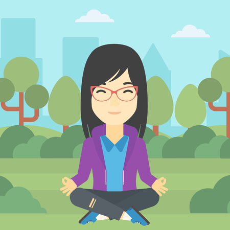 concentrate: An asian young business woman meditating in yoga lotus position outdoor. Business woman relaxing in the park in the lotus position. Vector flat design illustration. Square layout.