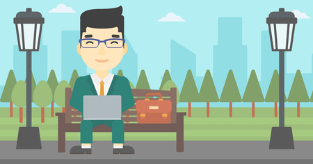 laptop outside: An asian young businessman working in the park. Man working on a laptop. Businessman sitting on a bench with laptop. Vector flat design illustration. Horizontal layout Illustration