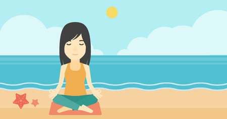 lotus pose: An asian young woman meditating in yoga lotus pose outdoor. Woman relaxing in the yoga lotus position. Woman doing yoga on nature. Vector flat design illustration. Horizontal layout