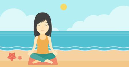 An asian young woman meditating in yoga lotus pose outdoor. Woman relaxing in the yoga lotus position. Woman doing yoga on nature. Vector flat design illustration. Horizontal layout