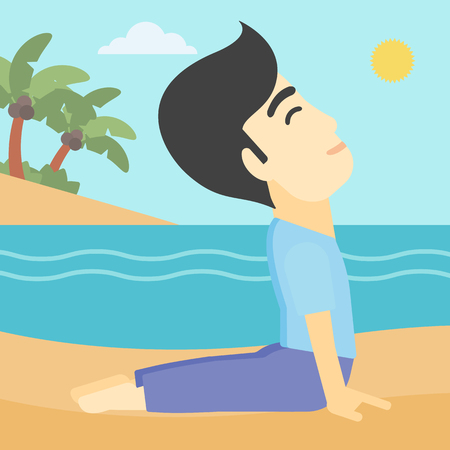 yoga outside: An asian young man practicing yoga upward dog pose. Man meditating in yoga upward dog position on the beach. Man doing yoga on nature. Vector flat design illustration. Square layout. Illustration