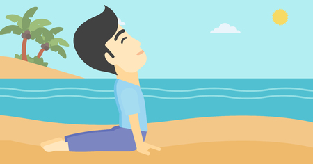 yoga outside: An asian young man practicing yoga upward dog pose. Man meditating in yoga upward dog position on the beach. Man doing yoga on nature. Vector flat design illustration. Horizontal layout