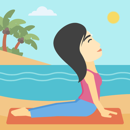 An asian young woman practicing yoga upward dog position. Woman meditating in yoga upward dog position on the beach. Woman doing yoga on nature. Vector flat design illustration. Square layout.