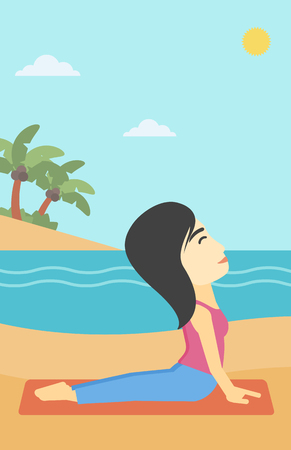 An asian young woman practicing yoga upward dog position. Woman meditating in yoga upward dog position on the beach. Woman doing yoga on nature. Vector flat design illustration. Vertical layout.