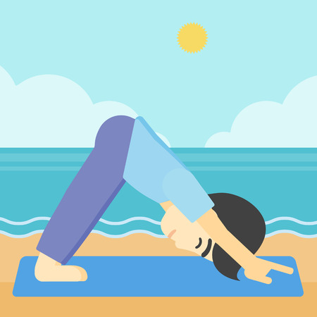 downward: An asian young man standing in yoga downward facing dog pose on the beach. Man doing yoga on nature. Vector flat design illustration. Square layout.