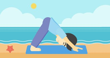 An asian young man standing in yoga downward facing dog pose on the beach. Man doing yoga on nature. Vector flat design illustration. Horizontal layout Vettoriali