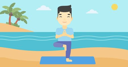An asian young man standing in yoga tree pose. Man meditating in yoga tree position on beach. Man doing yoga on nature. Vector flat design illustration. Horizontal layout Illustration