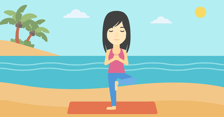 yoga outside: An asian young woman standing in yoga tree position. Woman meditating in yoga tree position on the beach. Man doing yoga on nature. Vector flat design illustration. Horizontal layout