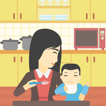 baby and mother: An asian mother feeding baby at home. Young mother teaching baby to eat with spoon. Mother spoon-feeding her baby at kitchen. Vector flat design illustration. Square layout.