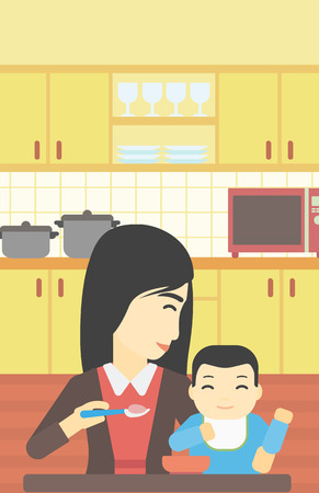 baby and mother: An asian mother feeding baby at home. Young mother teaching baby to eat with spoon. Mother spoon-feeding her baby at kitchen. Vector flat design illustration. Vertical layout.