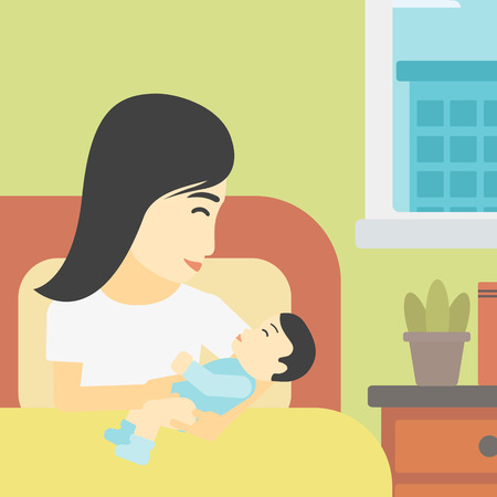 maternity ward: An asian mother holding newborn in maternity ward. Mother nursing baby. Mother and infant resting at hospital. Happy mother with newborn. Vector flat design illustration. Square layout.