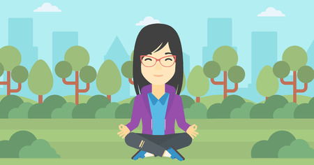 concentrating: An asian young business woman meditating in yoga lotus position outdoor. Business woman relaxing in the park in the lotus position. Vector flat design illustration. Horizontal layout