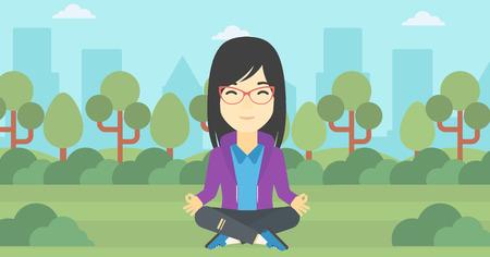 mujer meditando: Una mujer de negocios asi�tica joven meditando en posici�n de loto de yoga al aire libre. mujer de negocios que se relaja en el parque en la posici�n de loto. Vector de dise�o plano ilustraci�n. disposici�n horizontal