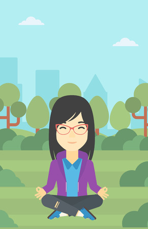 concentrating: An asian young business woman meditating in yoga lotus position outdoor. Business woman relaxing in the park in the lotus position. Vector flat design illustration. Vertical layout.