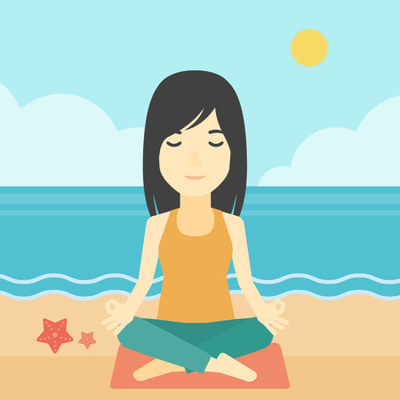 mujer meditando: An asian young woman meditating in yoga lotus pose outdoor. Woman relaxing in the yoga lotus position. Woman doing yoga on nature. Vector flat design illustration. Square layout.