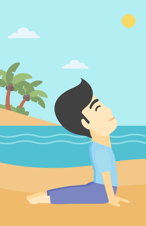 yoga outside: An asian young man practicing yoga upward dog pose. Man meditating in yoga upward dog position on the beach. Man doing yoga on nature. Vector flat design illustration. Vertical layout.
