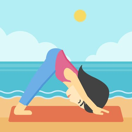facing: An asian young woman standing in yoga downward facing dog pose on the beach. Woman doing yoga on nature. Vector flat design illustration. Square layout.