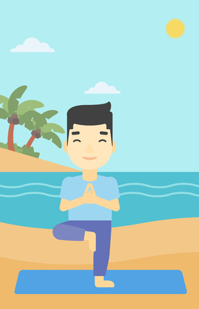 An asian young man standing in yoga tree pose. Man meditating in yoga tree position on beach. Man doing yoga on nature. Vector flat design illustration. Vertical layout. Illustration