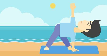 An asian young man standing in yoga triangle pose. Man meditating in yoga triangle position on the beach. Man doing yoga on nature. Vector flat design illustration. Horizontal layout