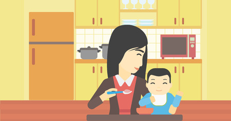 baby and mother: An asian mother feeding baby at home. Young mother teaching baby to eat with spoon. Mother spoon-feeding her baby at kitchen. Vector flat design illustration. Horizontal layout.