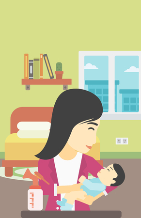 An asian mother holding a newborn baby in hands and a breast pump standing on the table in front of her. Young mother feeding her baby. Vector flat design illustration. Vertical layout. Ilustração