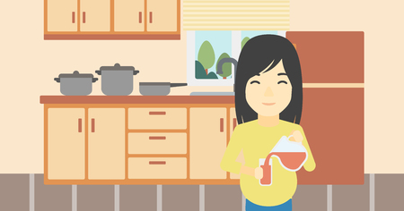 An asian pregnant woman pouring juice in glass. Pregnant woman drinking juice. Concept of healthy nutrition during pregnancy. Vector flat design illustration. Horizontal layout.