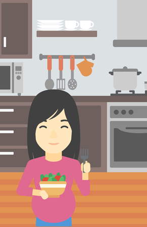 woman eating: An asian young pregnant woman holding bowl with vegetables in kitchen. Concept of healthy nutrition during pregnancy. Vector flat design illustration. Vertical layout.