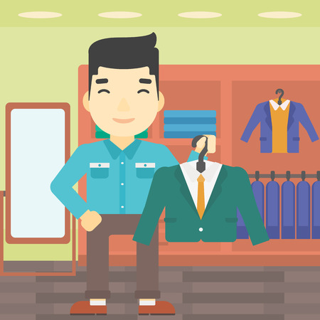 suit jacket: An asian young man holding hanger with suit jacket and shirt. Man choosing suit jacket at clothing store. Shop assistant offering suit jacket. Vector flat design illustration. Square layout.