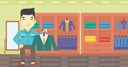 shop assistant: An asian young man holding hanger with suit jacket and shirt. Man choosing suit jacket at clothing store. Shop assistant offering suit jacket. Vector flat design illustration. Horizontal layout.