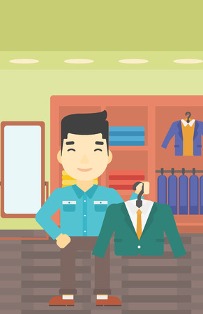 clothing store: An asian young man holding hanger with suit jacket and shirt. Man choosing suit jacket at clothing store. Shop assistant offering suit jacket. Vector flat design illustration. Vertical layout.