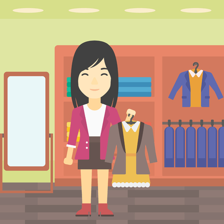 choosing: An asian young woman holding hanger with dress and jacket. Woman choosing dress at clothing store. Shop assistant offering suit jacket and dress. Vector flat design illustration. Square layout.