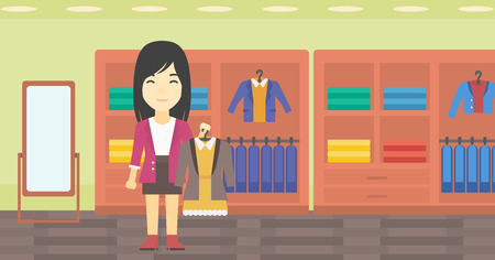choosing clothes: An asian young woman holding hanger with dress and jacket. Woman choosing dress at clothing store. Shop assistant offering suit jacket and dress. Vector flat design illustration. Horizontal layout.