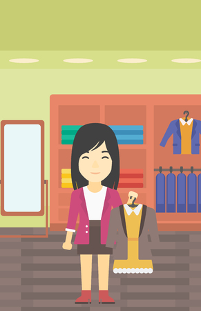 choosing clothes: An asian young woman holding hanger with dress and jacket. Woman choosing dress at clothing store. Shop assistant offering suit jacket and dress. Vector flat design illustration. Vertical layout.
