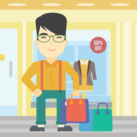 An asian man holding shopping bags on the background of boutique window with dressed mannequins. Happy young man carrying shopping bags. Vector flat design illustration. Square layout. Illustration