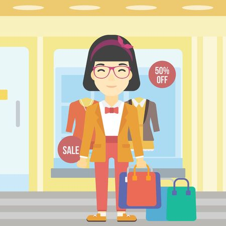 An asian woman holding shopping bags on the background of boutique window with dressed mannequins. Happy young woman carrying shopping bags. Vector flat design illustration. Square layout. Illustration