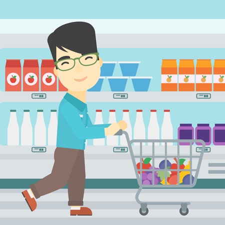 man pushing: An asian young man pushing a supermarket cart with some goods in it. Customer shopping at supermarket with cart. Vector flat design illustration. Square layout.