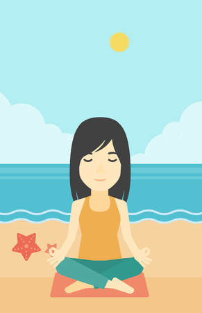 woman meditating: An asian young woman meditating in yoga lotus pose outdoor. Woman relaxing in the yoga lotus position. Woman doing yoga on nature. Vector flat design illustration. Vertical layout. Illustration