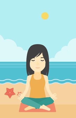 mujer meditando: Una mujer joven asiática meditación de loto pose de yoga al aire libre. Mujer que se relaja en la posición de loto yoga. Mujer que hace yoga en la naturaleza. Vector de diseño plano ilustración. disposición vertical. Vectores