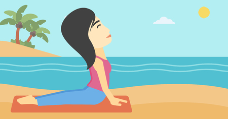 yoga outside: An asian young woman practicing yoga upward dog position. Woman meditating in yoga upward dog position on the beach. Woman doing yoga on nature. Vector flat design illustration. Horizontal layout Illustration