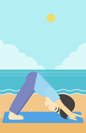 facing: An asian young man standing in yoga downward facing dog pose on the beach. Man doing yoga on nature. Vector flat design illustration. Vertical layout.