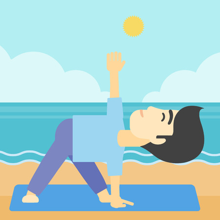 An asian young man standing in yoga triangle pose. Man meditating in yoga triangle position on the beach. Man doing yoga on nature. Vector flat design illustration. Square layout.