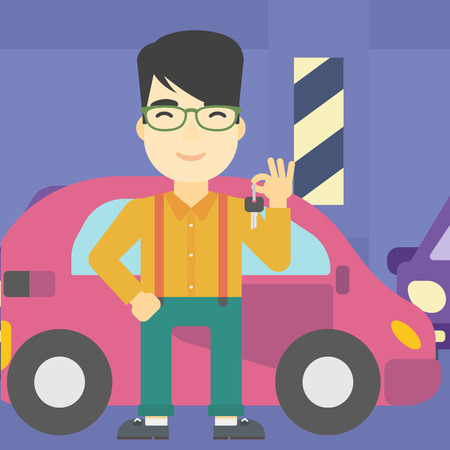 An asian man holding keys to his new car. Happy young man showing key to his new car on the background of car shop. Vector flat design illustration. Square layout.
