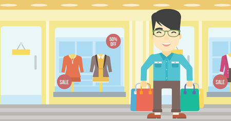 An asian man holding shopping bags on the background of boutique window with dressed mannequins. Happy young man carrying shopping bags. Vector flat design illustration. Horizontal layout. Illustration