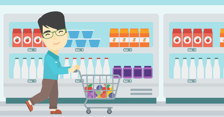 consumer goods: An asian young man pushing a supermarket cart with some goods in it. Customer shopping at supermarket with cart. Vector flat design illustration. Horizontal layout.
