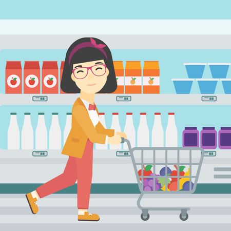 woman shopping cart: An asian young woman pushing a supermarket cart with some goods in it. Customer shopping at supermarket with cart full with groceries. Vector flat design illustration. Square layout.