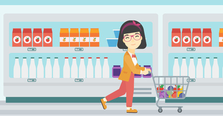 woman shopping cart: An asian young woman pushing a supermarket cart with some goods in it. Customer shopping at supermarket with cart full with groceries. Vector flat design illustration. Horizontal layout.