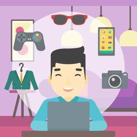 An asian man sitting in front of laptop and some images of goods around him. Man doing online shopping. Man buying on internet. Vector flat design illustration. Square layout.
