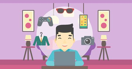asian man laptop: An asian man sitting in front of laptop and some images of goods around him. Man doing online shopping. Man buying on internet. Vector flat design illustration. Horizontal layout.