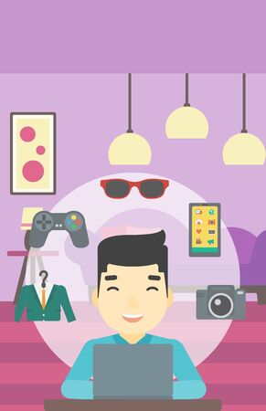 consumer goods: An asian man sitting in front of laptop and some images of goods around him. Man doing online shopping. Man buying on internet. Vector flat design illustration. Vertical layout.