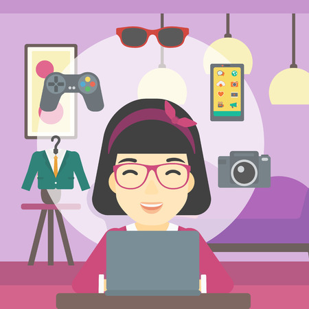An asian woman sitting in front of laptop and some images of goods around her. Woman doing online shopping. Woman buying on the internet. Vector flat design illustration. Square layout. Illustration